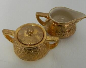 McCoy Weeping Sunburst Brocade 24K Gold Lidded Sugar Bowl and Creamer Set