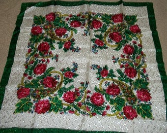 Vintage Beautiful Head Neck Scarf Never Used Original Price Tag Rayon Made in Japan Floral Red Green Yellow