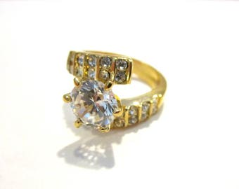 Gorgeous CZ Ring Wide Costume Rhinestone Ring Size 7 Gift for Her Under 15 Gift Idea Mom Statement Ring