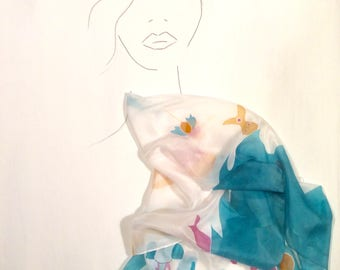 The Greek Island- HANDPAINTED SILK SCARF
