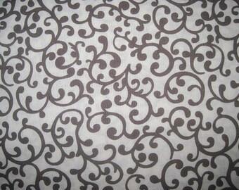 Brown Scroll, Fabric, Cotton, Brown Scroll Fabric, brown, cream, nursery, 1 Yard, BTY,