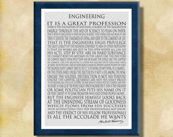 Engineering - Herbert Hoover - 11x14 Cafe Mount Prin - Motivational Word Art Print - man, dad, father - ready to hang