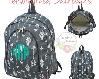 Personalized Backpack, Monogrammed Back to School Book Bag, Gray Arrow Backpack -Your Choice Name or Monogram
