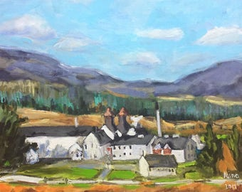 "Scotland, Highland,Dalwhinnie distillery,11""x14"" original painting acrylics on canvas"