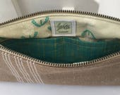 WHITE and beige stripe GRAIN-SACK fabric wristlet pouch: green woven pocket | dandelion lining