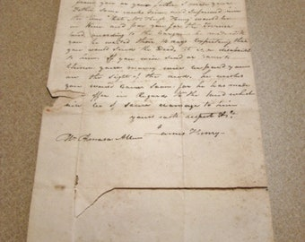1838 Letter Handwritten Chester CT, Abington, CT, Non-payment for Land