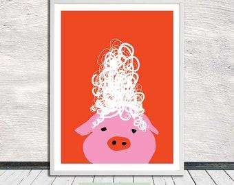 Pig with Wig, Fun animal print, peekaboo animal, printable wall art, Instant Digital Download (for self printing)