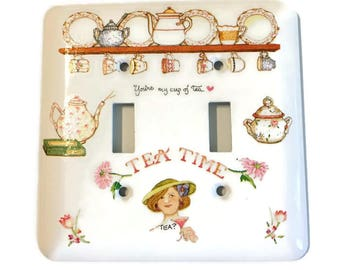 Tea Time, Tea Cups, Plates, Tea Pots, Floral, Woman, Birthday Gift, Kitchen Accent, Pantry Accent