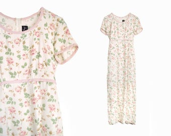 Vintage 90s Floral Print Maxi Dress in Ivory Rose - small/medium