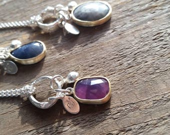 Twig and pink/purple Sapphire bunch pendant in Sterling silver
