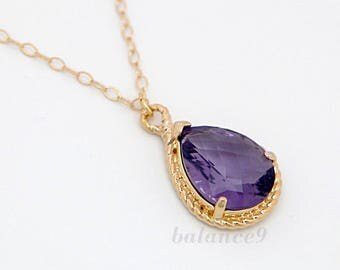 Purple crystal necklace, delicate drop necklace, gold filled chain, crystal pendant, everyday jewelry, holidays gift, wedding, by balance9