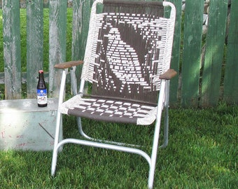 Mid Century Macramé Lawn Chair- Brown & White with Quail Design