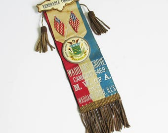 Antique Modern Woodmen of America Fraternal Organization Award Ribbon, Venerable Counsul Ribbon from Late 1800s