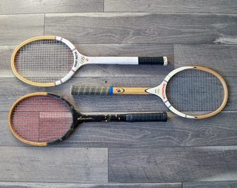 Bundle of 3 Mid Century Tennis Rackets - Tennis Racquets - Sports Decor