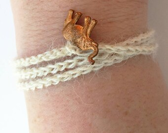 Winter White Crochet Wrap Bracelet/Necklace with Vintage Brass Elephant Charm - The Elephant in the Wrap Bracelet // Elephant Charm Bracelet