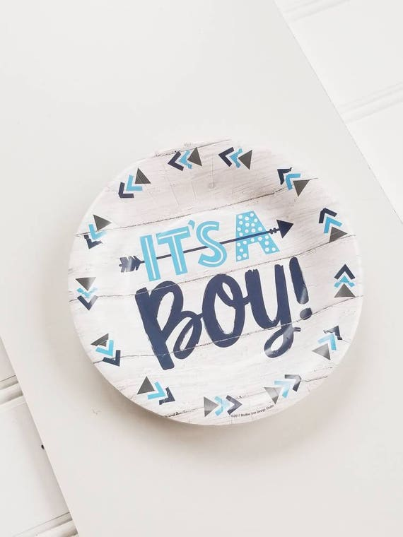 20ct ITS A BOY 7  Paper Plates Blue Baby Shower Blue Rustic Bohemian Arrow Theme Boy White Modern Navy Blue Gender Reveal Boy Shower & 20ct ITS A BOY 7