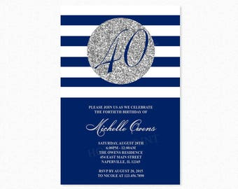 Silver 40th Birthday Party Invitation, Blue and White Stripes, 40th Birthday Invitation, Milestone Birthday, Printable or Printed