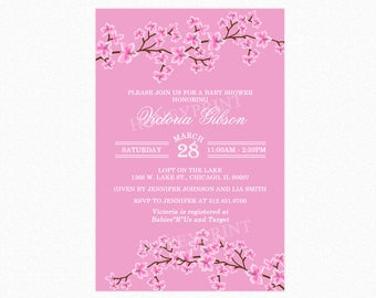 Cherry Blossom Baby Shower Invitation in Pink, Cherry Blossoms, Personalized, Printable and Printed
