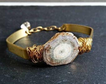 Raw Natural Solar Quartz Bracelet With Brass Wire