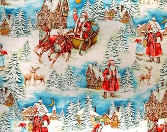 Michael Miller Multi Old World Santa Fabric - 1 yard