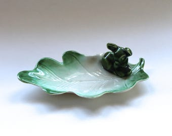 Vintage 1950s Pottery Leaf Shaped Candy Dish with Deer!