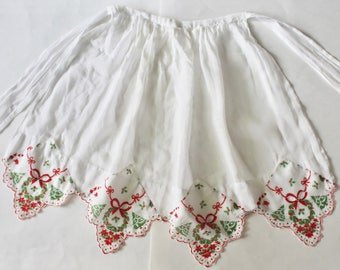Vintage 1960's Sheer White Handkerchief Christmas Hostess Apron- Mid Century Christmas!