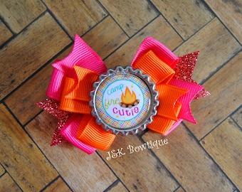 Camp fire cutie hair bow..Small classic layered bow...hair bow, hair clip, headband