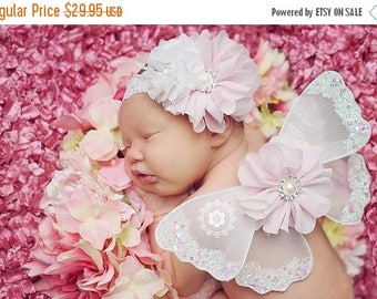 ON SALE Newborn WINGS, white and pink wings and headband set, Angel Wings, newborn photography prop, baby wings, fairy wings Free Shipping