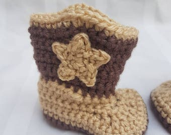 Crocheted Baby Newborn Cowboy Boots  Tan and Brown Photo Prop Baby Shower Gift