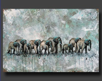 PRINT or GICLEE Reproduction -- Herd of Elephants -- Minimalist Watercolor print -- 12 x 18 -- Only 100 Signed Available  -