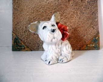 Tiny Vintage Scottish or Highland Terrier Dog Figure Penny Bank Japan 1940's Ceramic