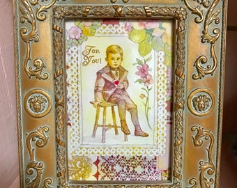 Shabby chic framed wrapping paper reproduction