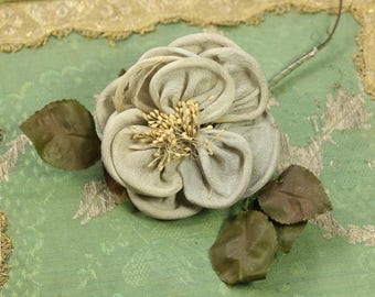 Antique silk ribbonwork flower  trim rolled rose silver blue millinery french doll dress stamen  trim doll flappers