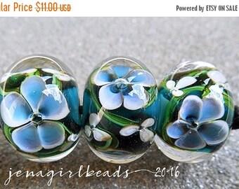SALE Oceania Encased Floral Lampwork Beads