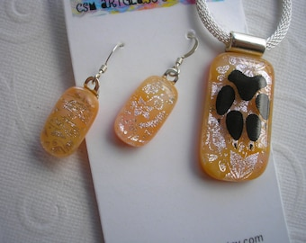 Pawprint Pendant & Earrings Orange Creme Fused Glass  .925 Sterling Silver Earwires Silver Dichroic Flowers and Butterflies Gift for Her