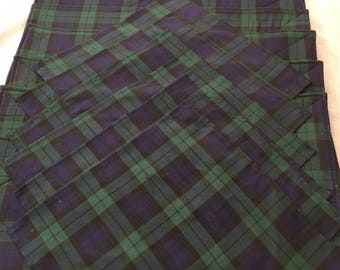Placemat Set#45, Plaid Placemats With Matching Napkins, Set of 6 Placemats and Napkins, Blue and Green Plaid Placemats and Napkins, Linens