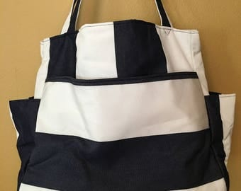 Tina#1534, Wide Striped Project Tote, Nautical Project Bag, Beach Bag, Vacation Tote, Knitting Project Bag, Extra Large Tote, Expanding Tote