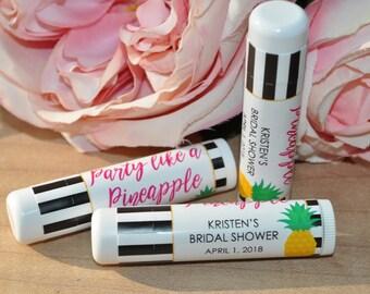 Bridal Shower Favors Lip Balm Labels, Wedding Lip Balm Labels, Bachelorette Party, Engagement, Party Like A Pineapple - Set of 24 Labels
