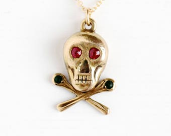 Antique 14k Yellow Gold Skull and Crossbones Pendant Necklace - Vintage Edwardian Created Ruby & Simulated Emerald Fine Jewelry Fob Charm