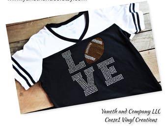 Rhinestone Love Football shirt,Football Love shirt,Football shirt,Football Rhinestone shirt,football rhinestones v-neck t-shirt