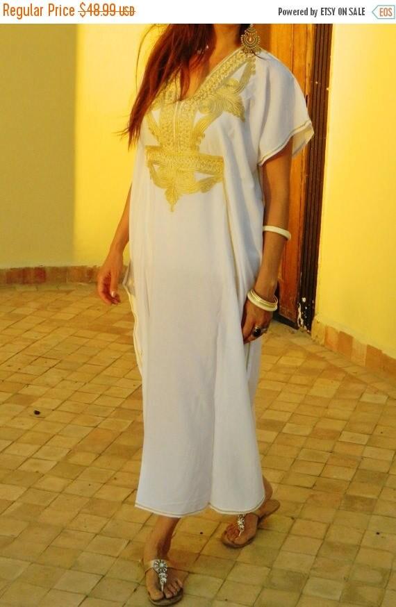 25% OFF Autumn Sale// White Caftan Kaftan Maxi Dress Marrakech Style- White with Gold Embroidery