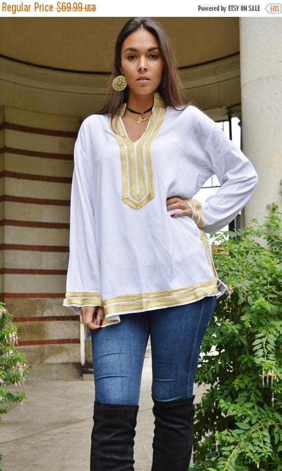 25% OFF Autumn Sale// Mariam Style White Tunic with Golden Embroidery-for Eid, birthday gifts, resort shirt, beach cover ups, resortwear, be