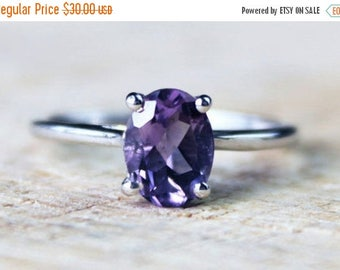 ON SALE Pretty Sterling Silver Amethyst Ring Oval Wedding Engagement Gemstone FREE Shipping Size O / 7.25