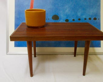 Mid Century Modern Slat Bench Coffee Table Danish Modern Plant Stand