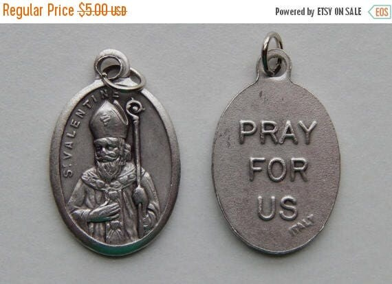 CLOSING SALE 5 Patron Saint Medal Findings - St. Valentine, Die Cast Silverplate, Silver Color, Oxidized Metal, Made in Italy, Charm, Drop,