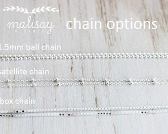 sterling silver satellite chain, ball chain, box chain, gold or silver finished chain, sterling silver necklace, malisay designs