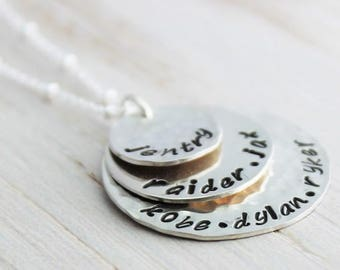 stacked names necklace, gift for grandma, mommy necklace, three name tags, 3 kids names, personalized names necklace, malisay designs