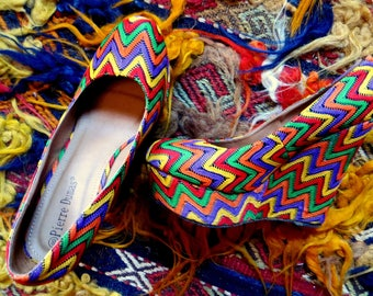 Outrageous House of Hermes Embroidered Ethnic Style Platform/Wedge Shoe, 8/8.5