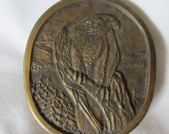 Peregrine Falcon 1977 Brass Belt Buckle, Indiana Metal Craft