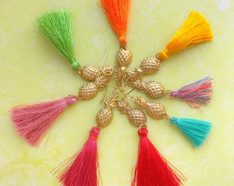 CHOOSE YOUR COLOR Pineapple Tassel Earrings Gold Brass Colorful Summer Dangle Earrings Boho Gypsy Casual Fun Beach Vacation Cruise Wear